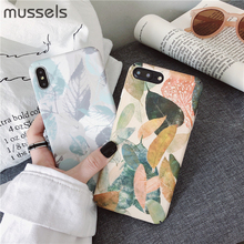 MUSSELS2 Hard Plastic Phone Case For iphone 7 X XS Max XR Case For iPhone 6 6s 7 8 Plus Vintage Leaf Print PC Phone Cover Fundas leaf print iphone case