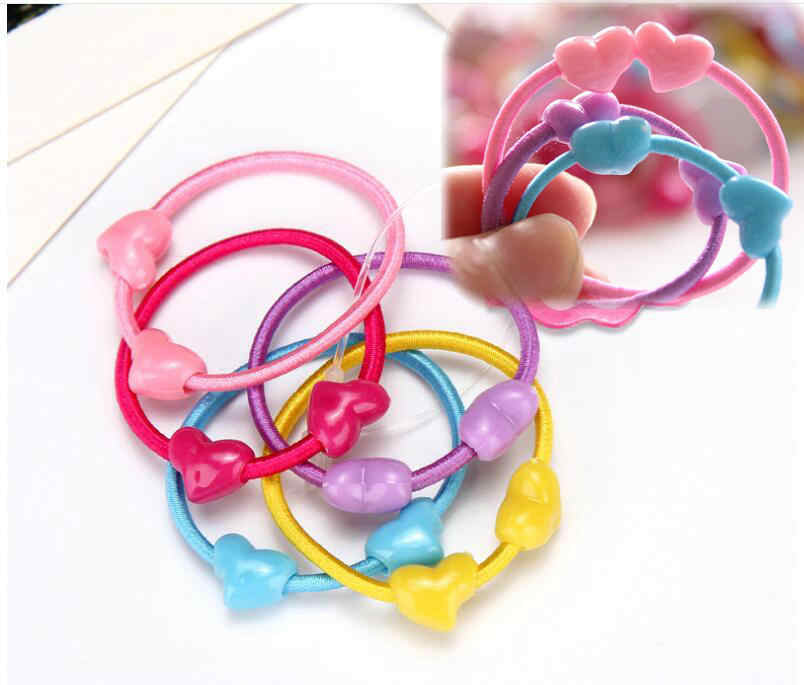 10--50pcs/bag Small Cartoon Butterfly  Mickey Candy Heart Child Baby Kids Ponytail Holders Hair Accessories For Girl Rubber Band