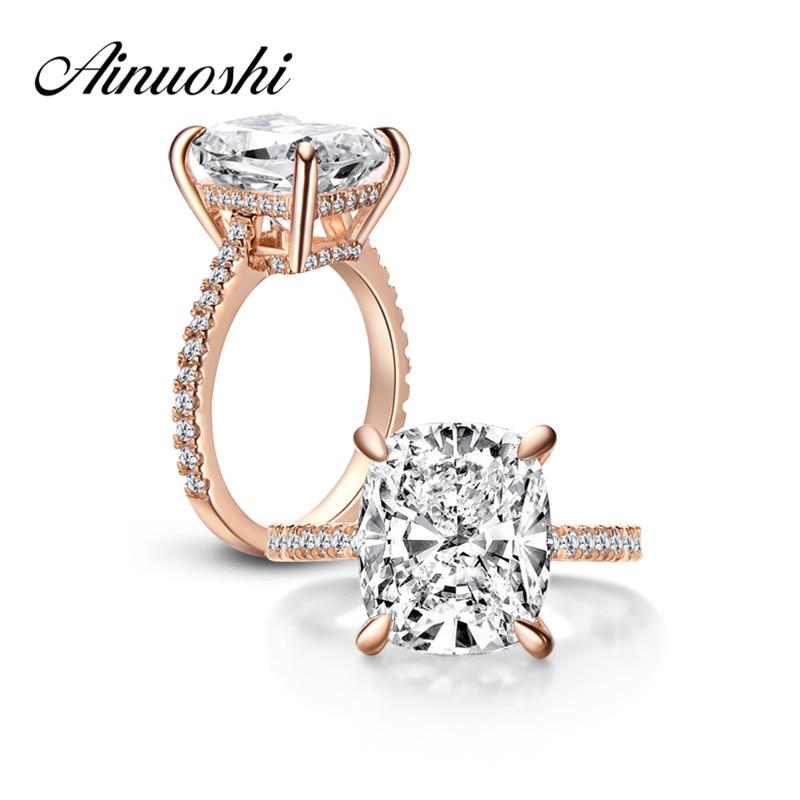 AINOUSHI Luxury 6 Carat Cushion Cut Ring High Setting Halo Engagement Wedding Bridal Band Rose Gold