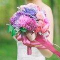 Романтический Моды Фиолетовый Свадебные Букеты Шелк Bruidsboeket 2016 Невесты Свадебные Цветы BA03