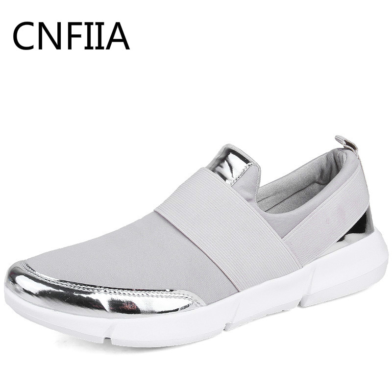 CNFIIA Shoes Woman Sneakers Big Size 41 42 Fashion 2018 Walking Women Breathable Black Comfortable Light Slip-On Female Shoes