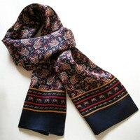 Новый Винтажный Мужской шарф из чистого шелка 2015, модный двухслойный шелк с цветочным принтом, атласные шейные платки