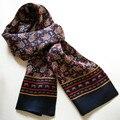 New Vintage Pure Silk Scarf Men 2015 Fashion Cashew Flowers Pattern Print  Double Layer Silk Satin Neckerchiefs