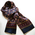 New Vintage Pure Silk Scarf Men 2015 Fashion Cashew Flowers Pattern Print Double Layer Silk Satin Neckerchiefs