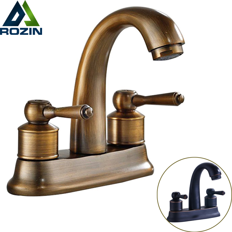 Luxury Bathroom Dual Handle Lavatory Sink Faucet Deck Mounted 2 Holes Basin Vessel Sink Mixer Taps Antique Brass antique brass bathroom basin faucet dual cross handles single hole deck mounted vessel sink gooseneck mixer taps wnf006