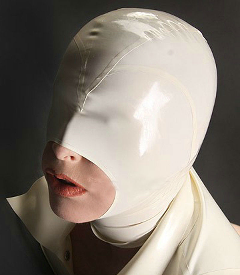 White Rubber Fetish Mask Sexy Latex Hood Open Mouth for Women Party Headgear Hoods