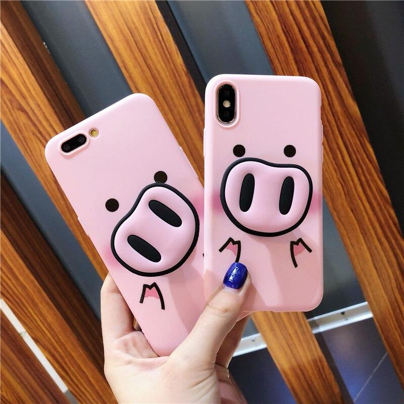 Забавный мультфильм свинья чехол для iPhone X XS Max XR чехол для iPhone 7 6s 8 8 плюс крышка милый нос стенд держатель Мягкая делам Капа