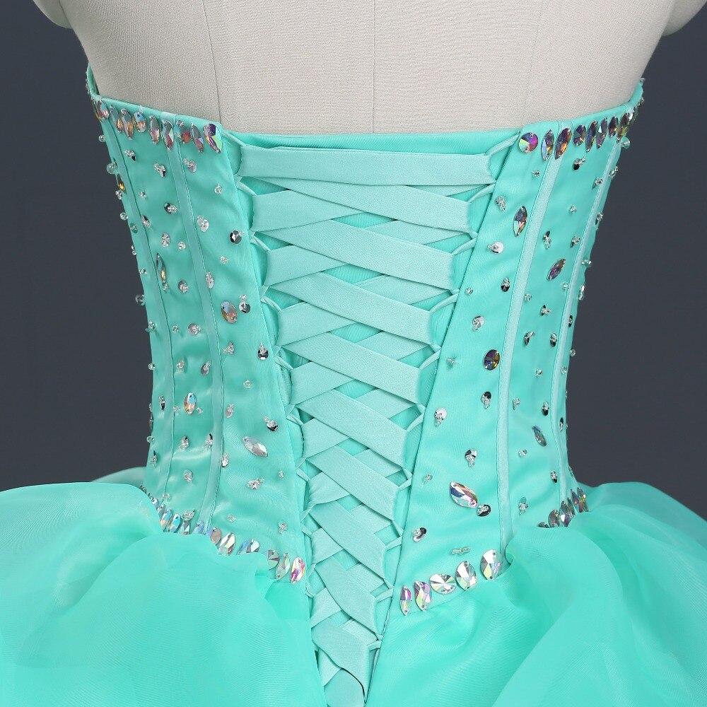 En stock robe de quinceanera vert lime à volants en organza depuis 15 ans robes de mascarade bon marché vestido debutante 15 avec pierres AB - 4
