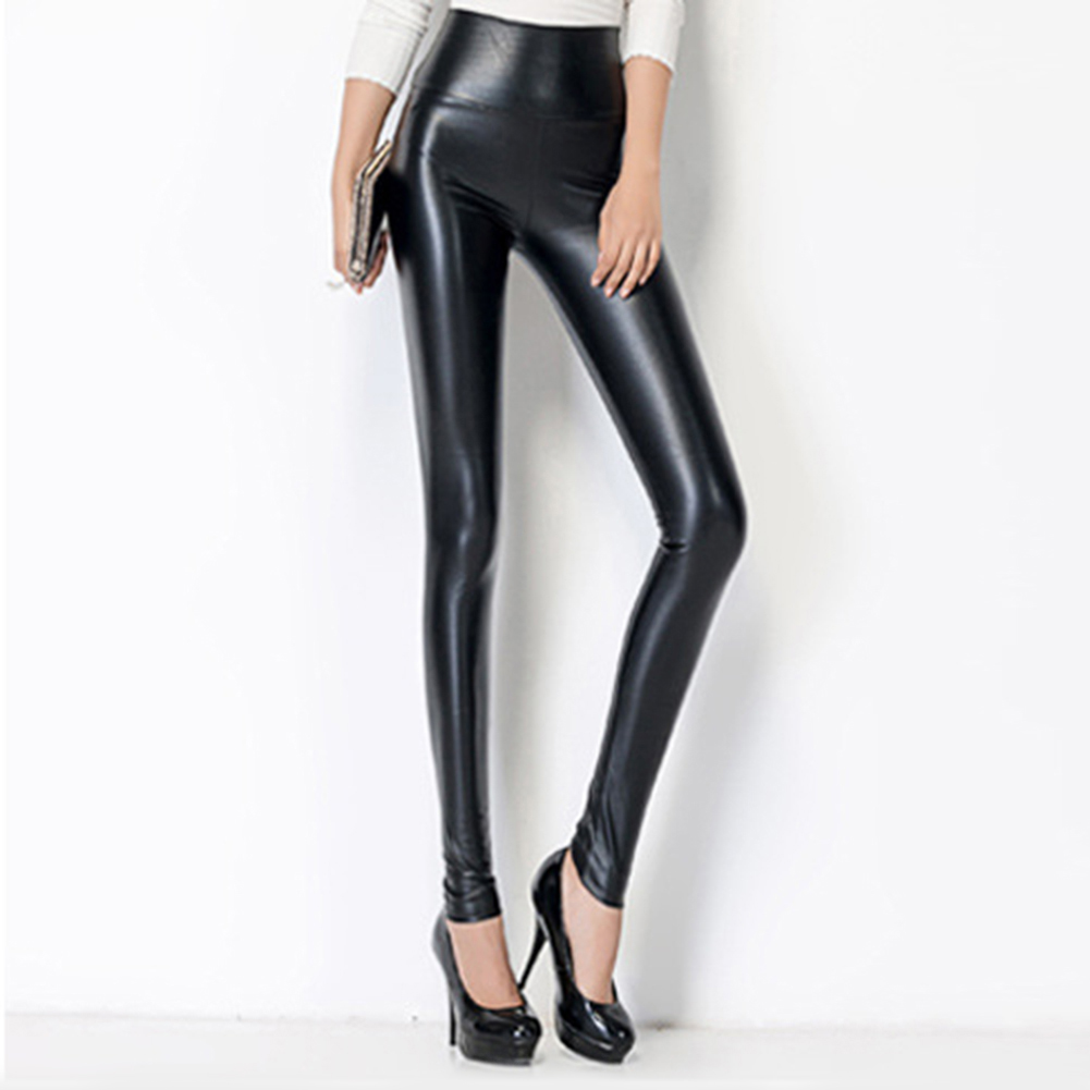 Women Skinny Faux Leather Stretchy Pants Tight Trousers Fashion Women Autumn Office Lady High Waist Trousers 3