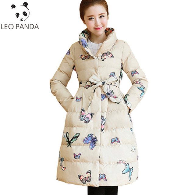 Fashion Jackets And Coats New Winter Coat Medium Long Jacket Plus Size Butterfly Printed Warm Jacket Female Parkas Thicken LXT31