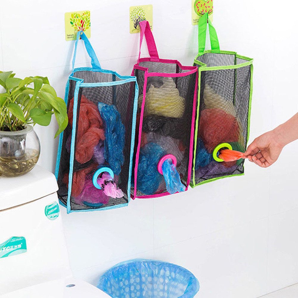 Kitchen Garbage Bags Mesh Storage Bag Vegetables Packing Pouch Wall Hanging