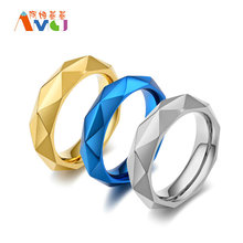 AMGJek 5.5mm Exclusive Rhombus Ring Silver Gold Blue Color Titanium Steel Rings Men Unisex Jewelry Comfortable To Wear US Size