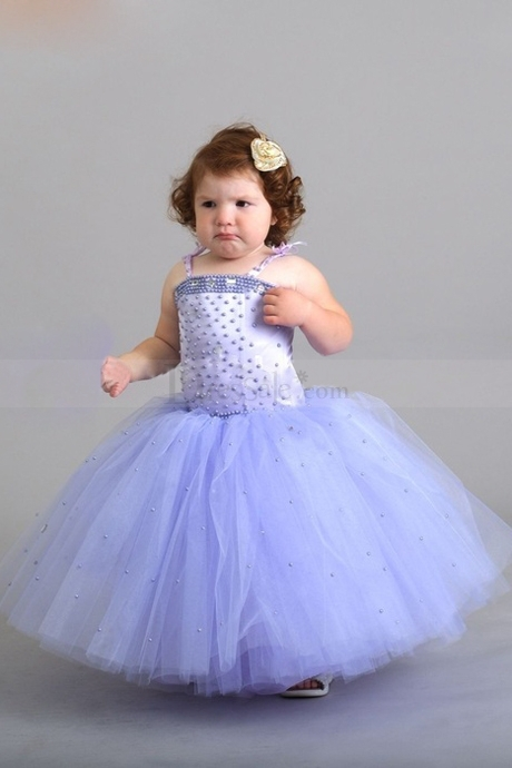 Free Shipping New Spaghetti Strap Lavender Tulle Ball Gowns   Flower     Girl     Dresses   For Weddings With Pearls 9655