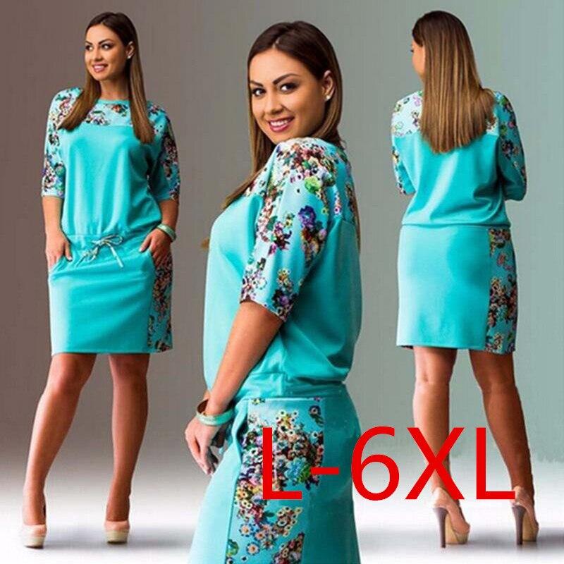5xl 6xl summer dresses big size 2017 fashion elegant women half sleeve print dress plus size