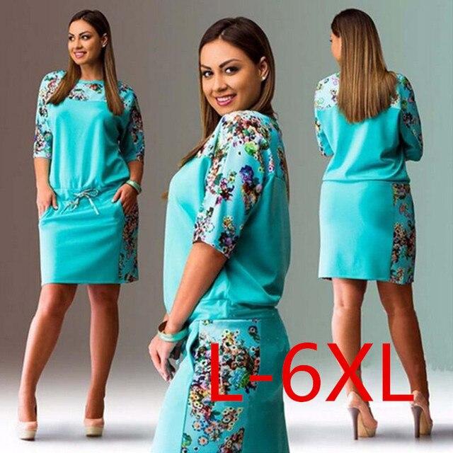 5xl 6xl летние платья большой размер 2017 мода элегантных женщин половина рукавом печати dress плюс размер случайный халат офис dress vestidos