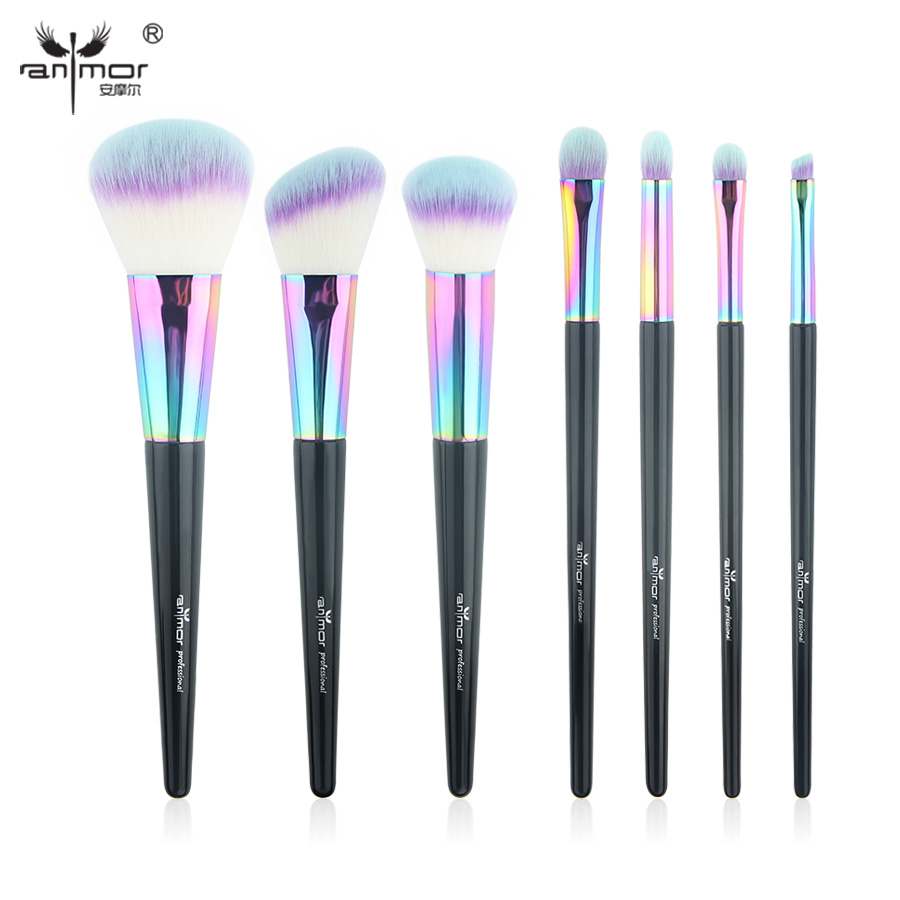 Anmor High Quality 7 gab / komplekts Makijāžas birstes Set Professional Make Up Brush Tools Krāsas Pieejamas CF-734