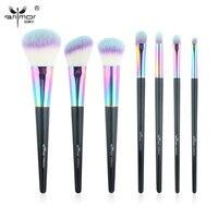 High Quality Colorful 7 Pcs Makeup Brush Set New Arrival Makeup Brushes Shiny Beautiful Powder