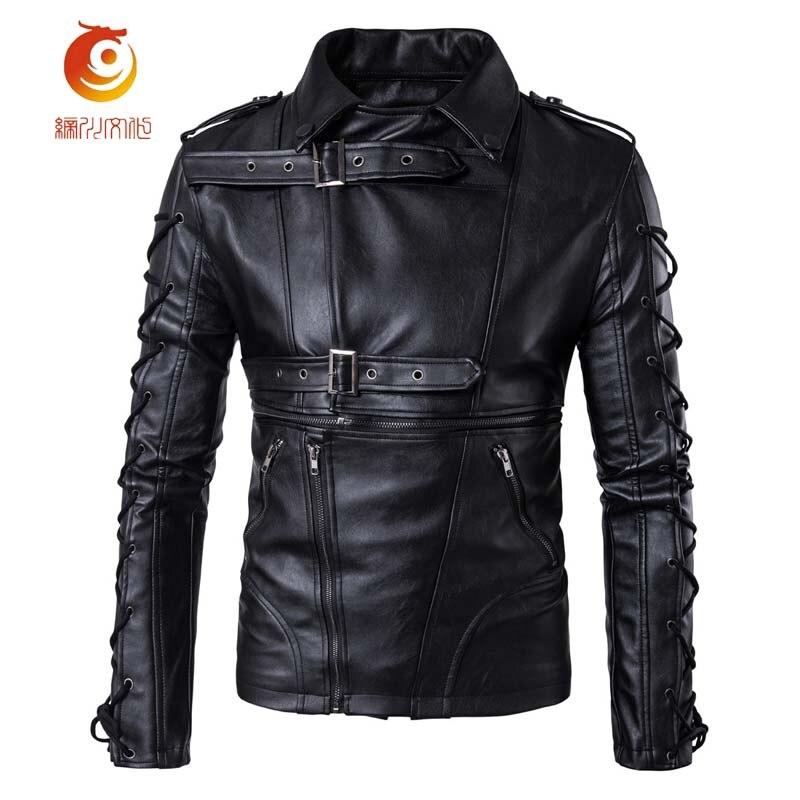 New Men Leather Jacket European Style Casual Mens Motorcycle Leather Jacket Soft PU Drawstring Zipper Jacket Large Size 5XL