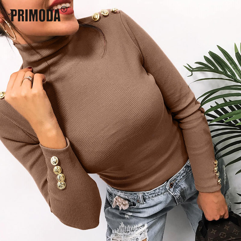 Knitted Sweater Tops Pullovers Button-Sleeve Office Women Turtleneck Thin Female Causal