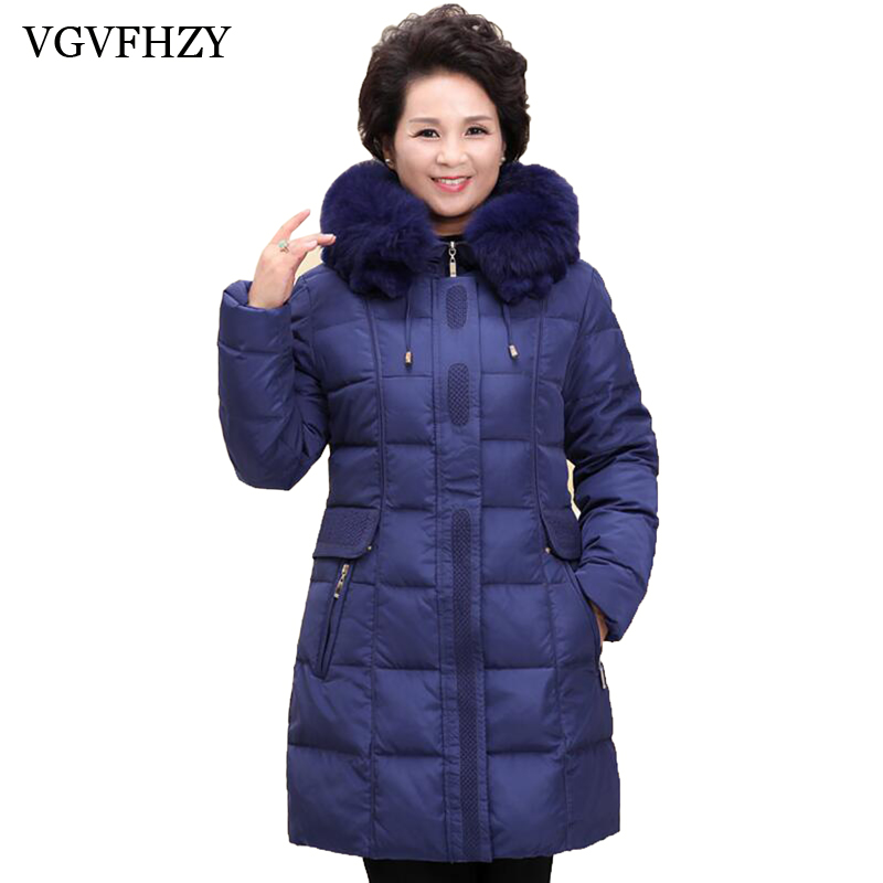 2017 New winter jacket White duck   down     coat   middle-aged women plus size 5XL hooded fur collar thick   down   jacket female Outerwear