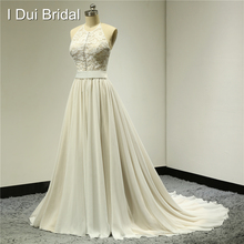 Halter Button Front Wedding Dresses Lace Top Chiffon with Belt Real Photo Factory Custom Made ELS007