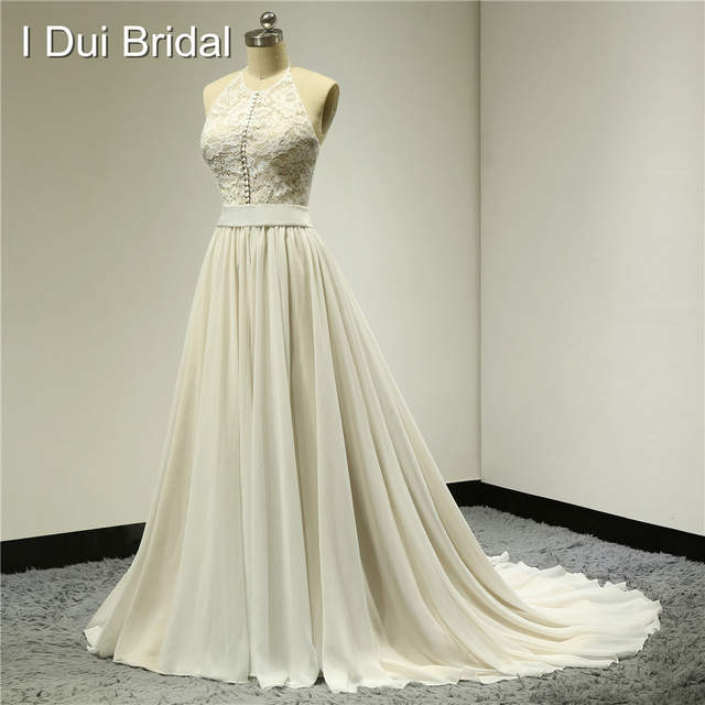 Halter Button Front Wedding Dresses Lace Top Chiffon with Belt Real ...