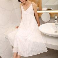 RenYvtil 2017 Summer Sleep Lounge Long White Cotton Nightgown Vintage Home Sleeveless V neck Princess Sleep Dress Sleepwear