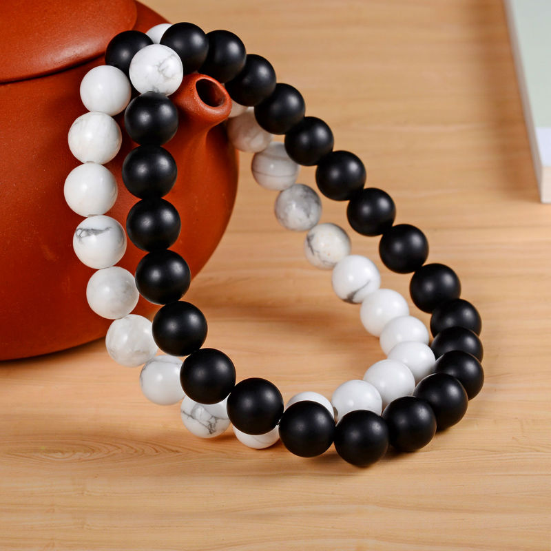 yin yang bracelet for couples 2pcs set couples distance bracelet with 100 7649