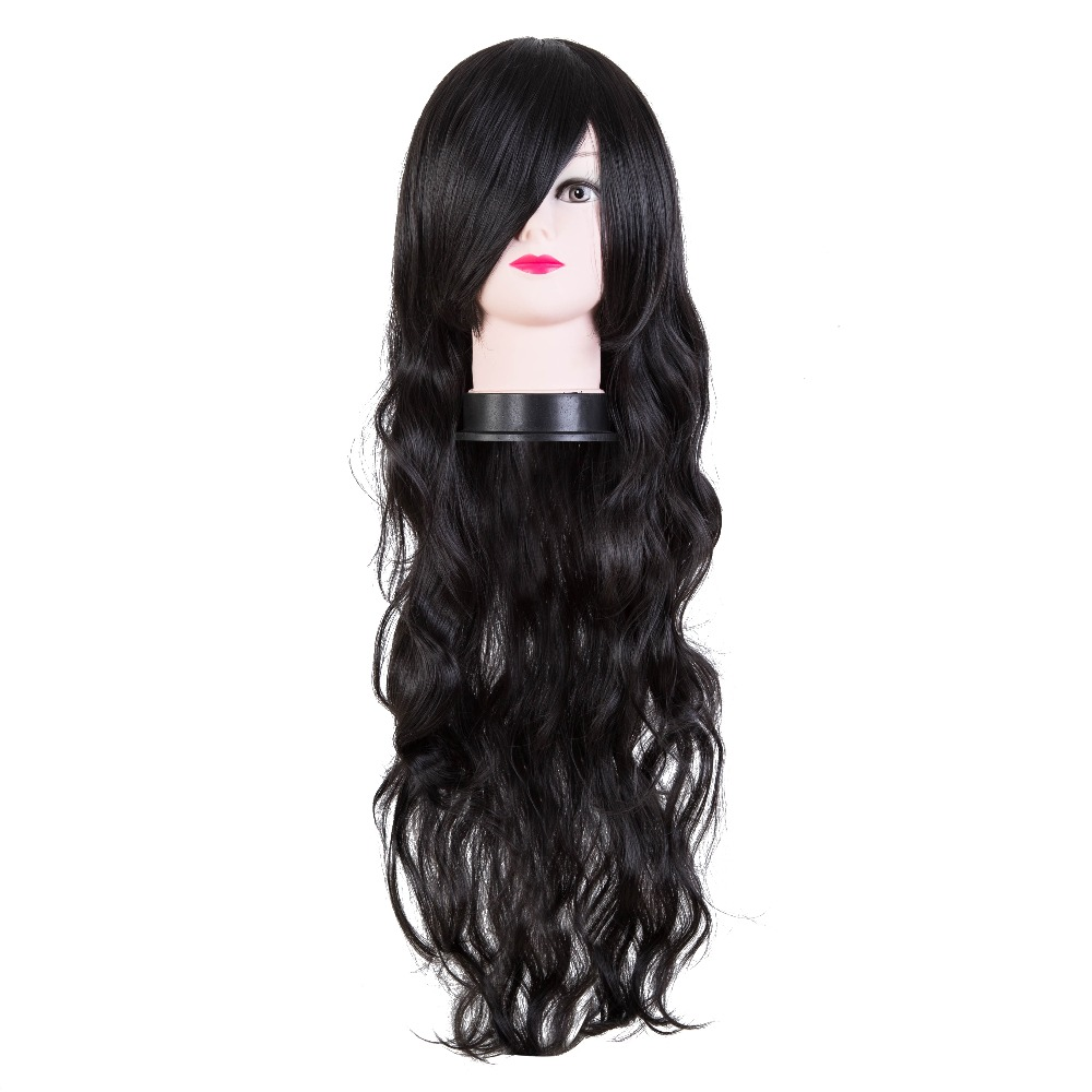 Synthetic Wigs Synthetic None-lacewigs Romantic Black Wig Fei-show Synthetic Heat Resistant Carnival Halloween Costume Cos-play 26 Inches Long Curly Hair Female Party Hairpiece