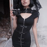 2019 Gothic Backless Mini Dress Zipper with Buckle Cut Out Short Sleeve Sexy Dress Streetwear Gothic Dress