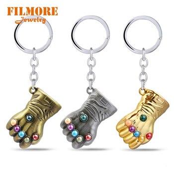 LLavero de Guantelete del Infinito The Avengers 3 Thanos de alta calidad con inserción de cristal, llavero colgante de puño de Metal, llavero de coche, joyería