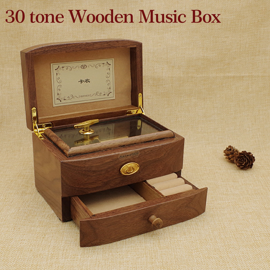 30 Tones Wooden Music Box Solid Wood Walnut Musical Boxes Jewelry