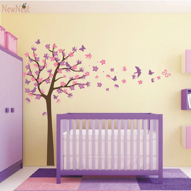 Nursery Tree Wall Decals - Tree Decal With Birds and Butterflies Wall Sticker Home Decor Baby  sc 1 st  AliExpress.com & Nursery Tree Wall Decals Tree Decal With Birds and Butterflies Wall ...
