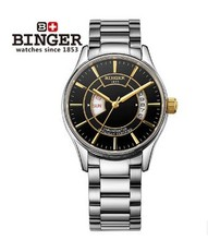 Classic Men Binger Black Silver Hollow Engraving Style Steel Band Analog Automatic Mechanical Wrist Watch for