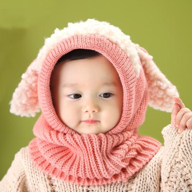 Lovely Crochet Baby Gorro Puppy Pattern Baby Hat Winter Cap For Newborn  Toddler Kids Children One-piece Baby Hat Scarf 3fb0bbe95b10