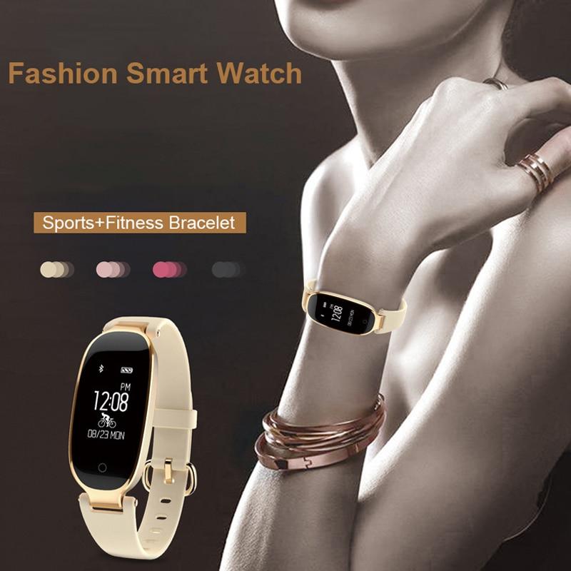 Fitness Tracker de S3 Reloj mujeres pulsera inteligente relojes Reloj del deporte del Monitor del ritmo cardíaco para Android IOS Reloj mujer