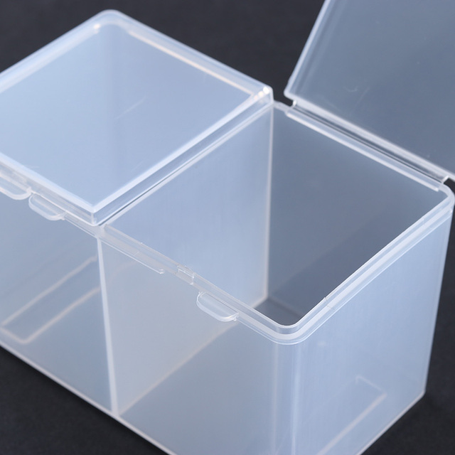 2 Compartments Nail Tool Container Cotton Pad Nail Polish UV Gel Glitter  Powder Clear Plastic