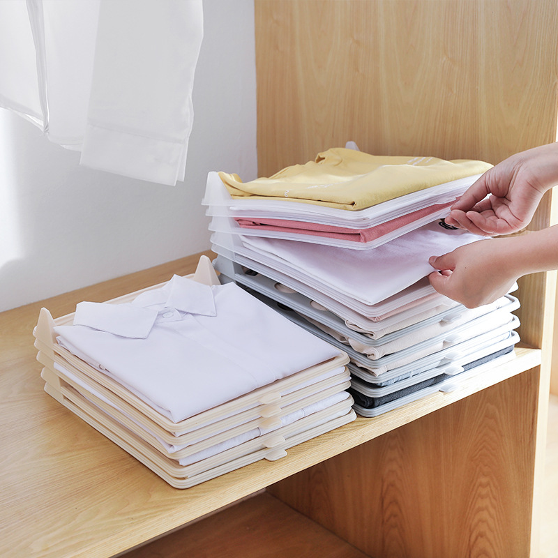 10Pcs/Set Folding Board Clothing Organization <font><b>Shirt</b></font> Travel Closet Drawer Stack <font><b>Organizer</b></font> Storage Cloth Boards Storage Folder image