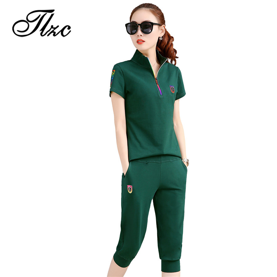 TLZC New Summer Woman Tracksuit Clothing Set Slim Sportwear Suit Plus Size M-4XL Women 2 Piece Set Costumes Polo Shirt + Pants