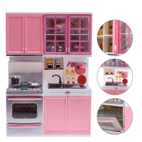 Original OCDAY Kitchen Pretend Play Cook Cooking Set Pink Cabinet Stove Learning Educational Interactive Toy For