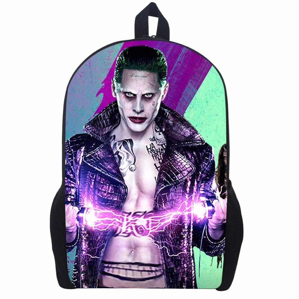 17 Inch Suicide Squad Backpack For Teenager Children Harley Quinn Joker School Bags Mens Women Shoulder Bag #4