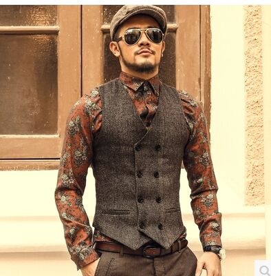 New Mens Slim Double Breasted Woolen Waistcoat V Neck Solid Color Sleeveless Jacket Dark Grey/Light Grey /Khaki Waistcoat J577