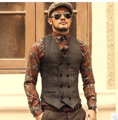 جديد رجل سليم مزدوجة الصدر الصوف - ملابس رجالية