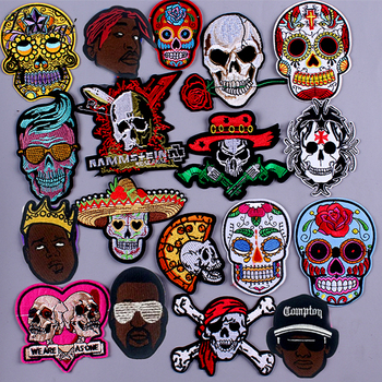 Black Man Patch Punk Rock Patches For Clothing DIY Embroidered Iron On Skull Patches On Clothes Hippie James Badge Patch Badge F image