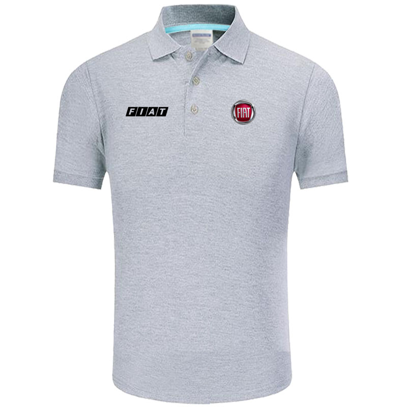 High quality FIAT logo   Polo   classic brand Men   Polo   Shirt Men Casual solid Short Sleeve cotton   polos