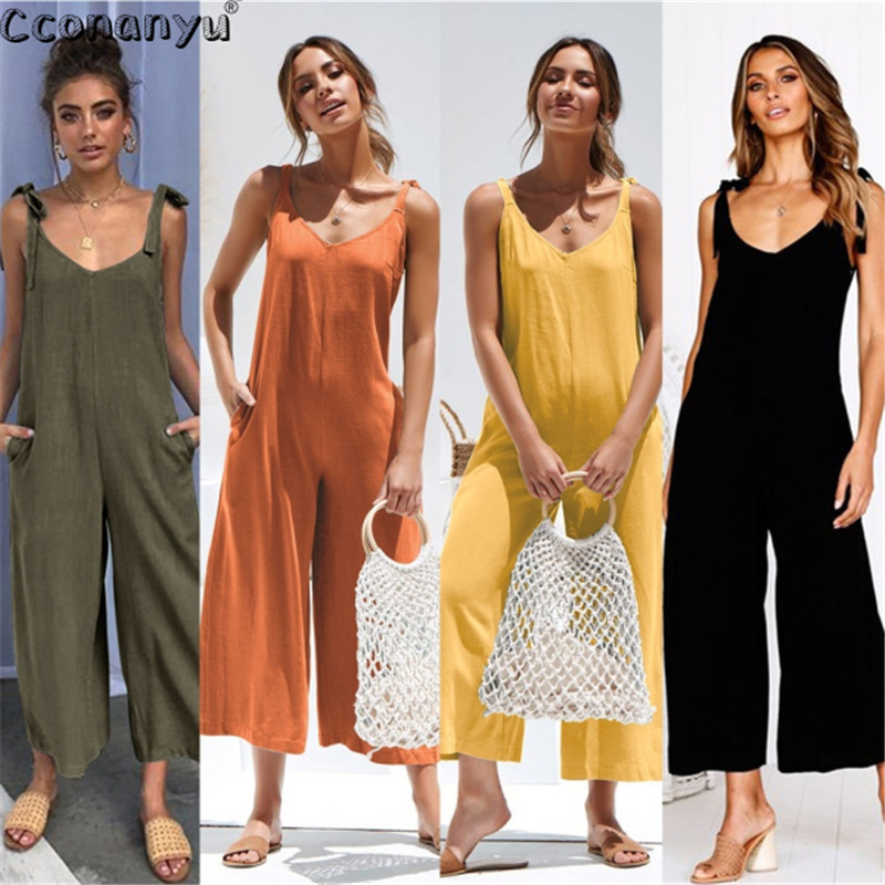 Loose Sleeveless Jumpsuit For Women 2019 Summer Sexy Shoulder Casual Jumpsuits Wide Leg Jumpsuits Rompers High Waist Pocket(China)
