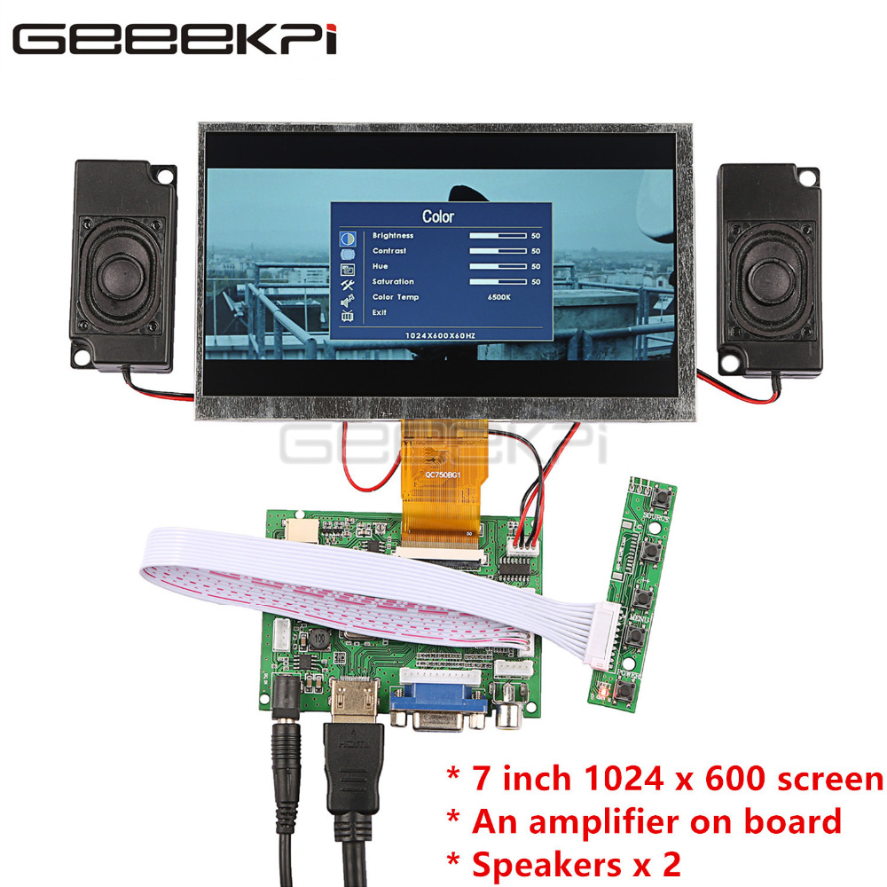 GeeekPi 7 Inch LCD 1024*600 Display Monitor Screen Kit With Amplifier 2pcs Speakers For Raspberry Pi 4 B All Platform / PC