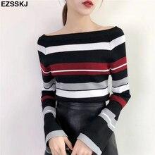 Шикарный весенне-осенний вязаный свитер, пуловеры для женщин с расклешенными рукавами, полосатый свитер для женщин, Высококачественный свитер с вырезом лодочкой, Топ