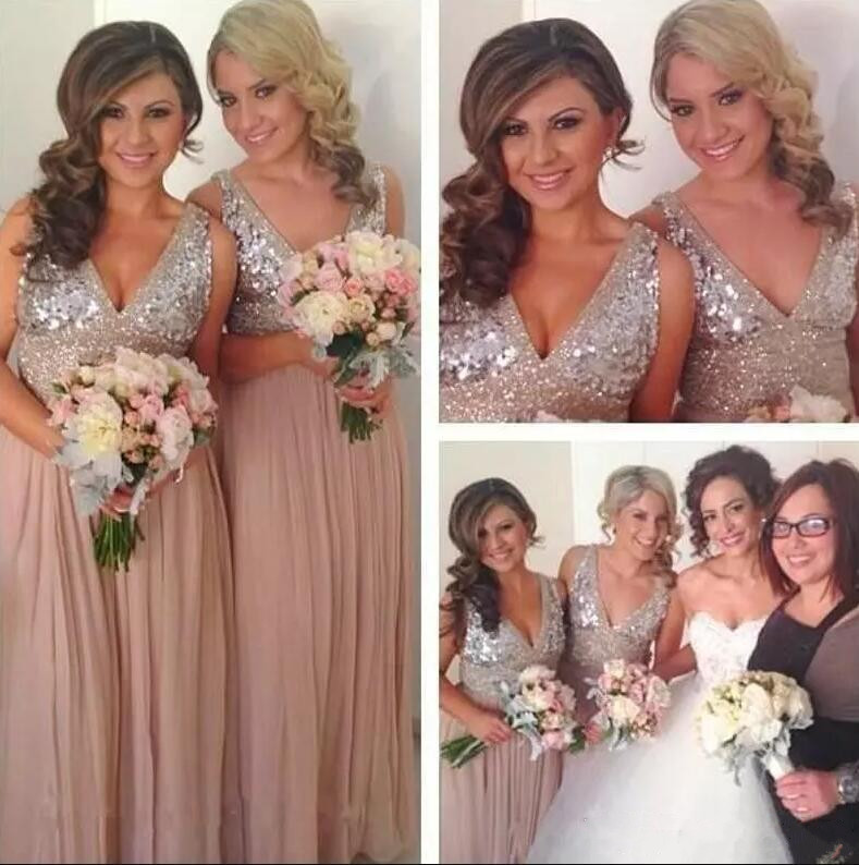 Crystal Sequins Chiffon Gold   Bridesmaid     Dresses   Plus Size Sparkly Maid of Honor Bridal Wedding Party Gowns Custom Made