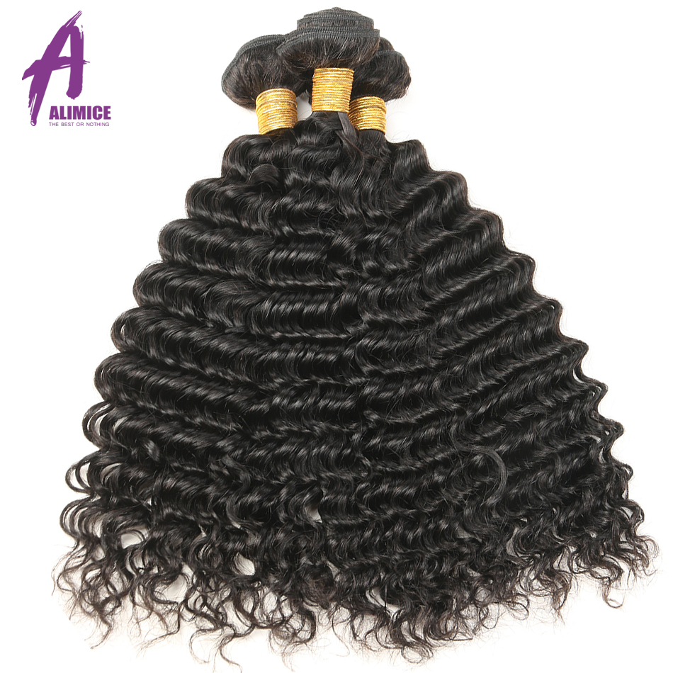Alimice Hair Indian Hair Deep Wave Extensions 100% Human Hair Weave - Menneskelig hår (for svart)